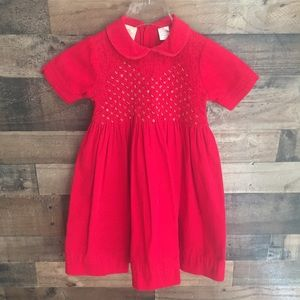 Carriage Boutiques Smocked Corduroy Dress Red 6